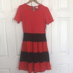 LuLaRoe Amelia Fit & Flare striped Dress XL